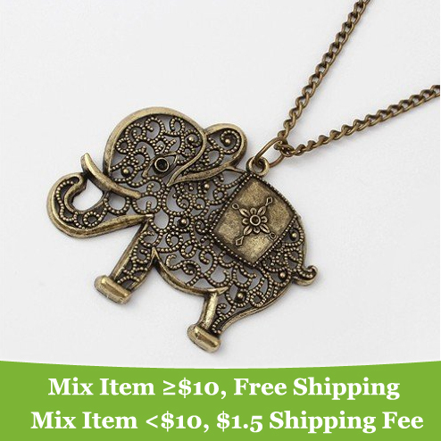 Fashion vintage elephant necklace Vintage necklaces Jewelry wholesale!!for women--CRYSTAL SHOP M13(China (Mainland))