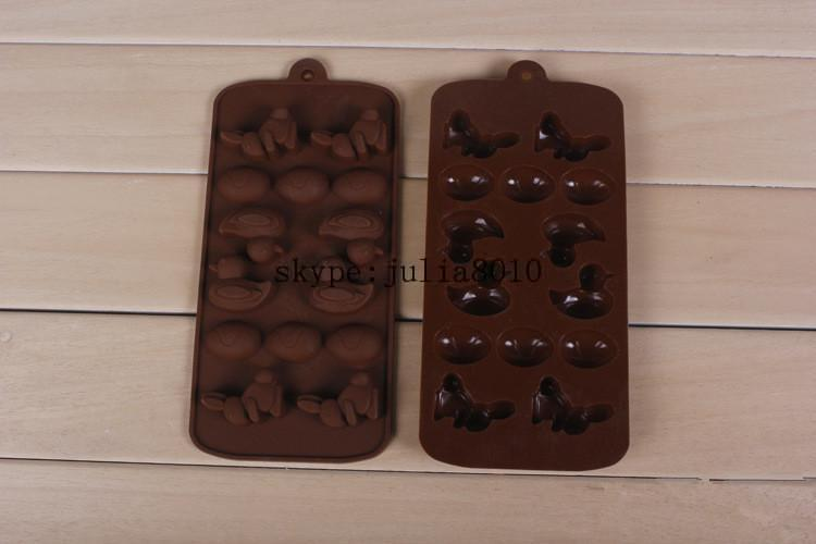 silicone cake mold chocolate moulds 14 lattices small duck rabbit DIY pastry molds soap ice cube SICM-215-4(China (Mainland))