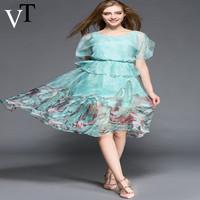 2015 Summer Style  Fashion Women Dress Elegant Ruffle Print Medium-long Summer Dress Party Dresses O-Neck L XL