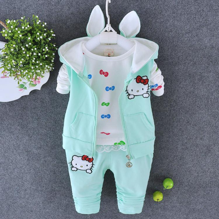 New Arrival 2015 Autumn Baby Girls Hello Kitty Suits Infant/Newborn Cotton Suits Kids Hooded Vest+T Shirt+Pnats 3 Pcs Sets(China (Mainland))