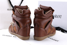 High quality women sneakers Isabel Marant lace up invisible wedge high heel sneakers 2015 new fashion