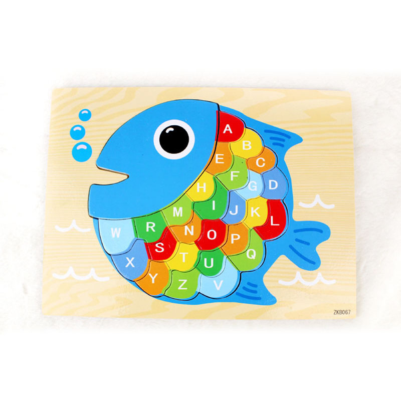Creative Fish Wooden Puzzle Children Alphabet Letters Puzzle Wood Jigsaw Early Learning Jigsaw For Kids Birthday Gifts(China (Mainland))