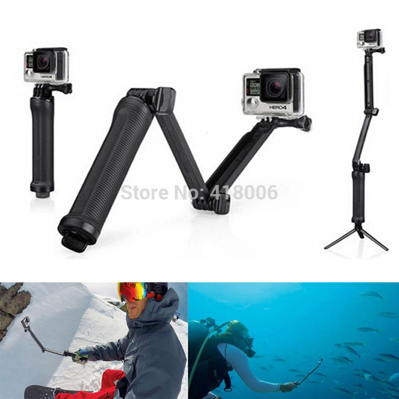 GoPro accessories Monopod 3-way Folding Arm Tripod Handheld Grip Selfie stick For Gopro Hero 4 Hero3+ hero 3/SJ4000 xiaomi yi(China (Mainland))