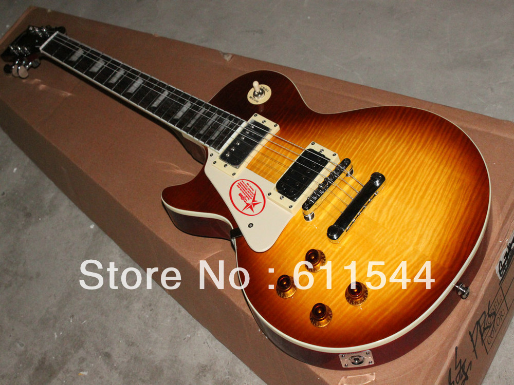 Custom Left Handed Jimmy Page Two Honey Burst VOS Electric Guitar High Quality Free Shipping(China (Mainland))