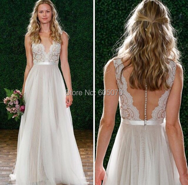 2015 Simple Wedding Dress Vestidos de Novia Bridal Gown with Lace and Sequins and BeadsTulle See throught Back(China (Mainland))