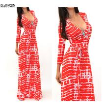 2016 Women Celeb Sexy Club Boho Long Maxi Dresses Ladies vestidos Autumn Beach Party Sun Casual Sexy V-neck long dress 912 DX