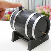Wine Barrel Plastic Automatic Toothpick Box Container Dispenser Holder Popular New(China (Mainland))