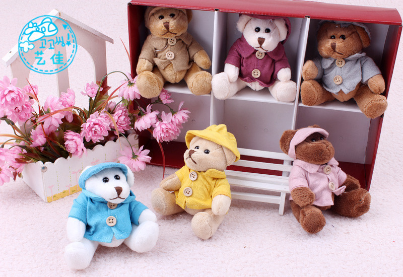2015 NEW hot sale Creative Gift Set 6pcs dressing Teddy Bear Plush Toy wholesale children's toys baby toy Christmas(China (Mainland))