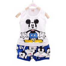 0-4 yrs 2016 Cartoon mickey Summer Baby Boy girl Clothing Set vest+ shorts suit kids child Casual Animal print children clothes