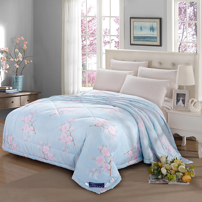 2016 printed cotton material filling silk air conditioning mechanical wash quilt 150x200cm 180x200cm 200x230cm bed quilts(China (Mainland))