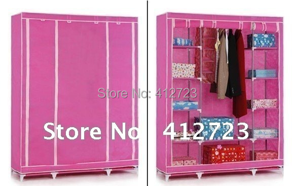 hot selling !!! Fashion super double foldable wardrobe,DIY closet pink color wardrobe cloth wardrobe reinforcement(China (Mainland))