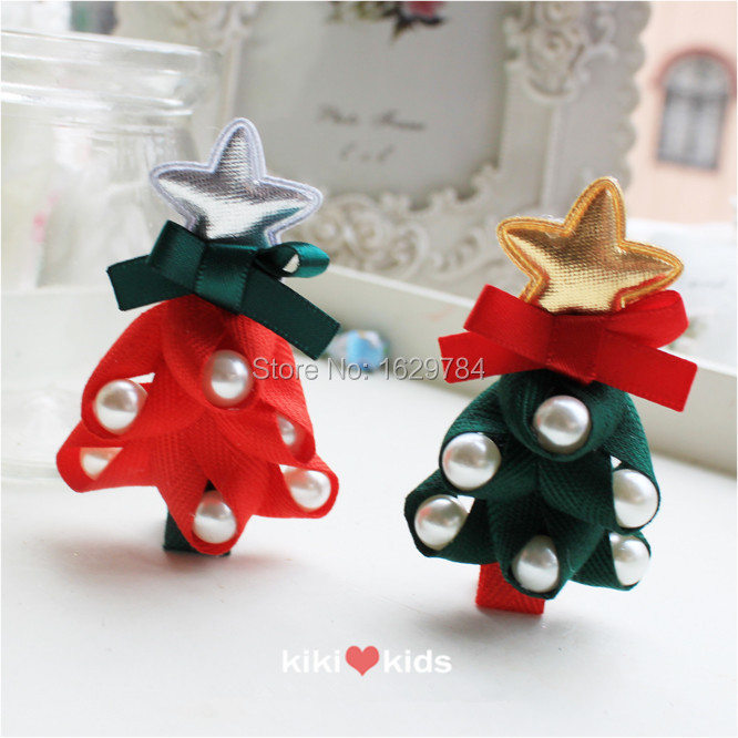 2015 XMASTop Quality Fabric Solid Christmas Tree Bowknot PU Star with Pearls Baby Girls Hairclip New Year Party HairAccessories(China (Mainland))