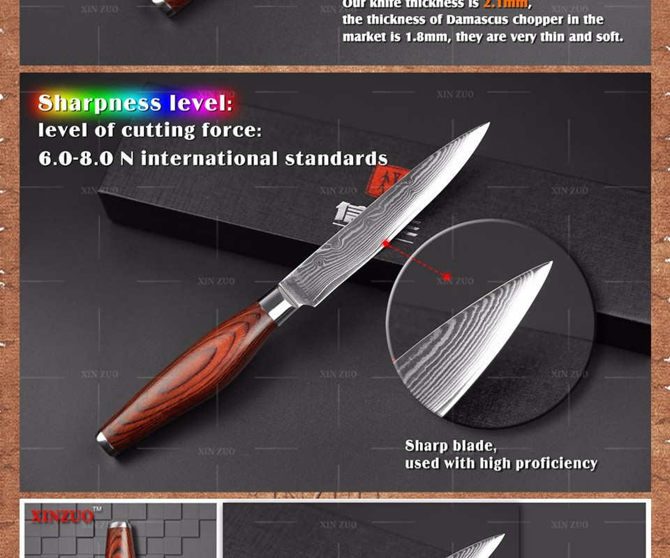 Buy 5'' inches Utility knife Japanese VG10 & 73 layers Damascus  Kitchen Knife universal fruit knife Color wood handle free shipping cheap