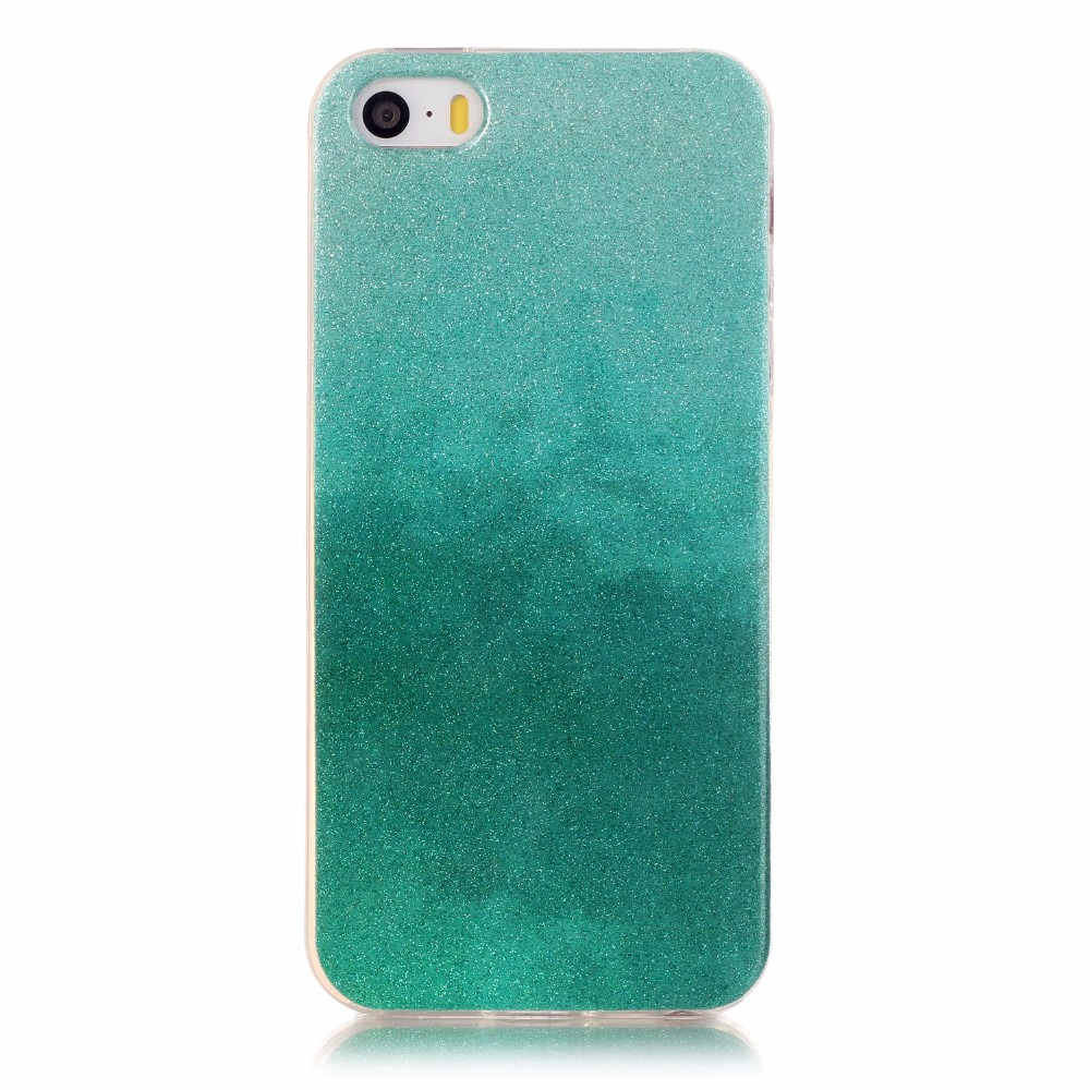 For iphone 5s 5g 5 se glitter cover soft tpu silicon case etui for iphone 5c gradient carcasas glitter colorful coque fundas