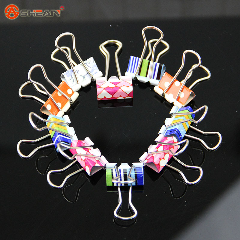 6 pcs/ pack 19x38mm Small Fresh Style Flower Printed Metal Binder Clips Notes Letter Paper Clip Office Supplies(China (Mainland))
