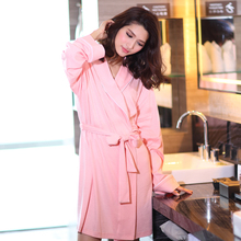 Hot sale Autumn Sexy high quality cotton fabric long-sleeved women nightgown bathrobe free shipping solid color robes for womens(China (Mainland))