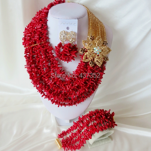 Handmade Nigerian African Wedding Beads Jewelry Set , Champagne Gold Crystal Coral Beads Necklace Bracelet Earrings Set CWS-411