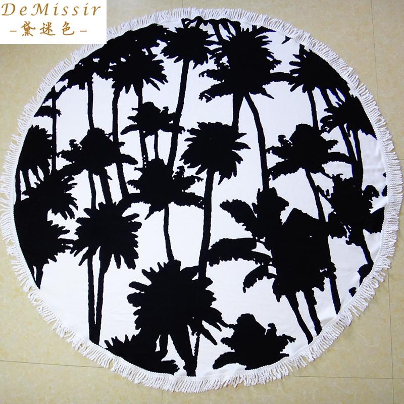 Demissir Black Coconut Palm 150cm Round Beach Microfibre Towels Tassel Summer Swimming Towels toallas playa serviette de bain(China (Mainland))