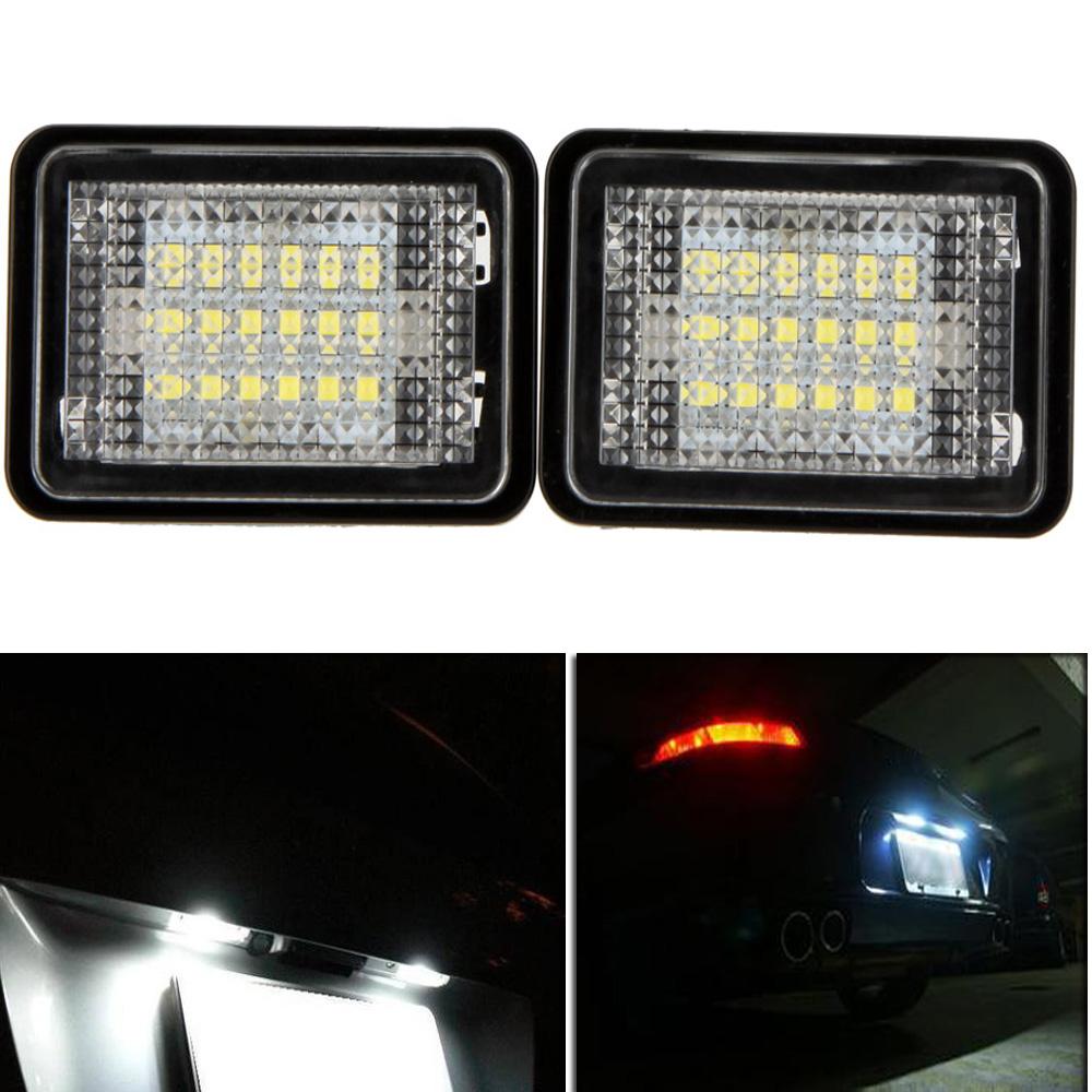 LED License Plate Light Lamp for Benz GLK350 GLK X204(07~) 2X18 3528 SMD White 6000K DC12V Licence Backup Rear Parking Bulb(China (Mainland))