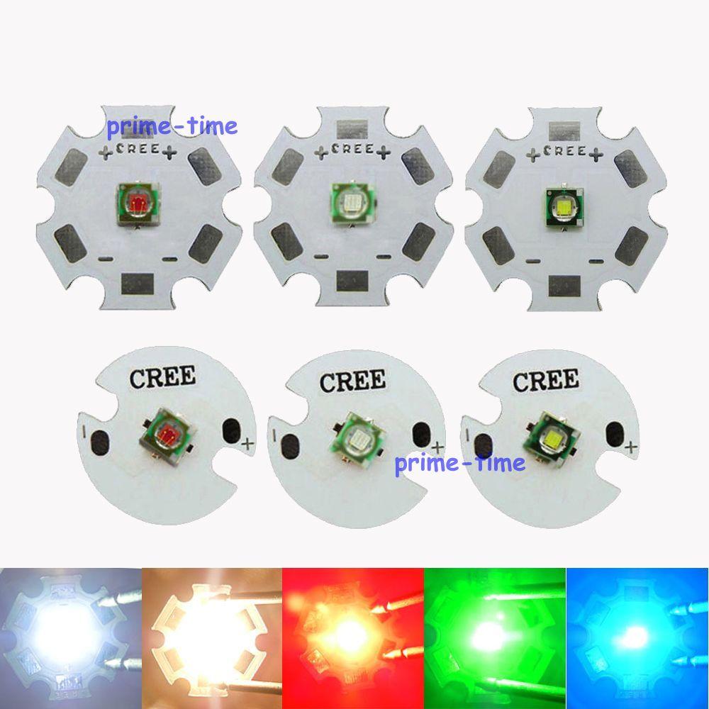 Cree XP-E XPE R3 Q3 1W 3W LED Emitter Beads Light White Green Warm white Red Blue Yellow 20MM 16MM Base Free Shiping(China (Mainland))