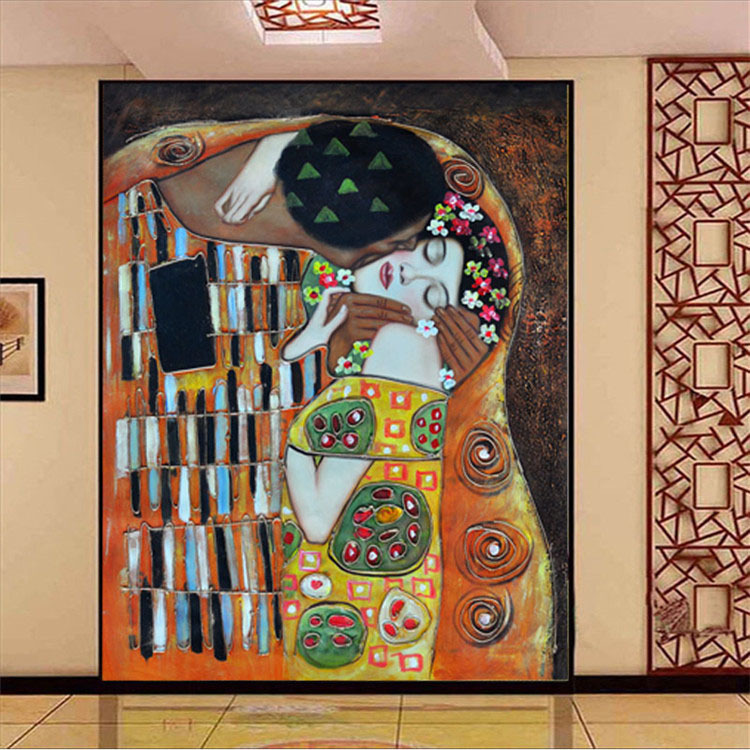 Custom 3d photo wallpaper gustav klimt the kiss wall mural for Decorative mural painting