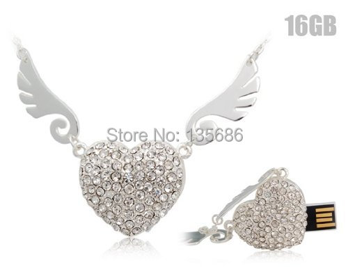Crystal Angel Heart USB Flash Drive Pen Drive Necklace 4GB 8GB 16GB 32GB 64GB USB 2.0 Memory Stick U Disk(China (Mainland))