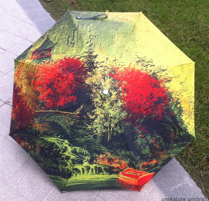 Clasic novelty oil painting umbrella flower in full blossom uv anti color drawing in super quality(China (Mainland))