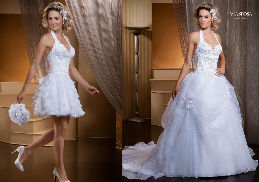 Fashionable vestido de noiva 2 em 1 white wedding gown halter shoulder dress detachable skirt Line Backless - Weddings & Events Collection store