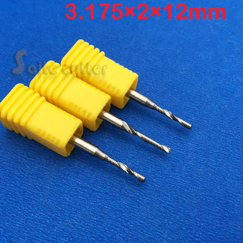 5 x 3.175mm CNC Router Bits Single Flute Tools Cut Acrylic Wood CED 2mm 12mm(China (Mainland))
