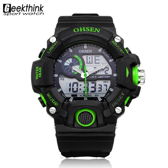 Бренд мужской из светодиодов кварцевые цифровые спортивные часы погружения открытый военный наручные часы Relogio Masculino мужской часы Ohsen зеленый