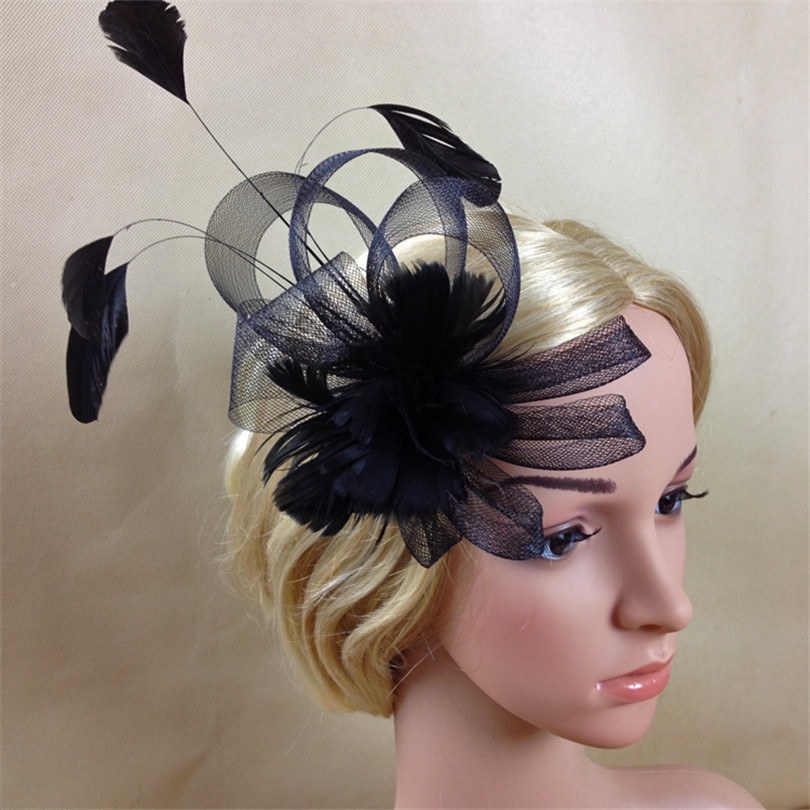 New Gauze Woman Bride Mesh Bow Feather Haipin Lady Hats Clips Elegant Wedding Party Hair Accessories Fascinators(China (Mainland))