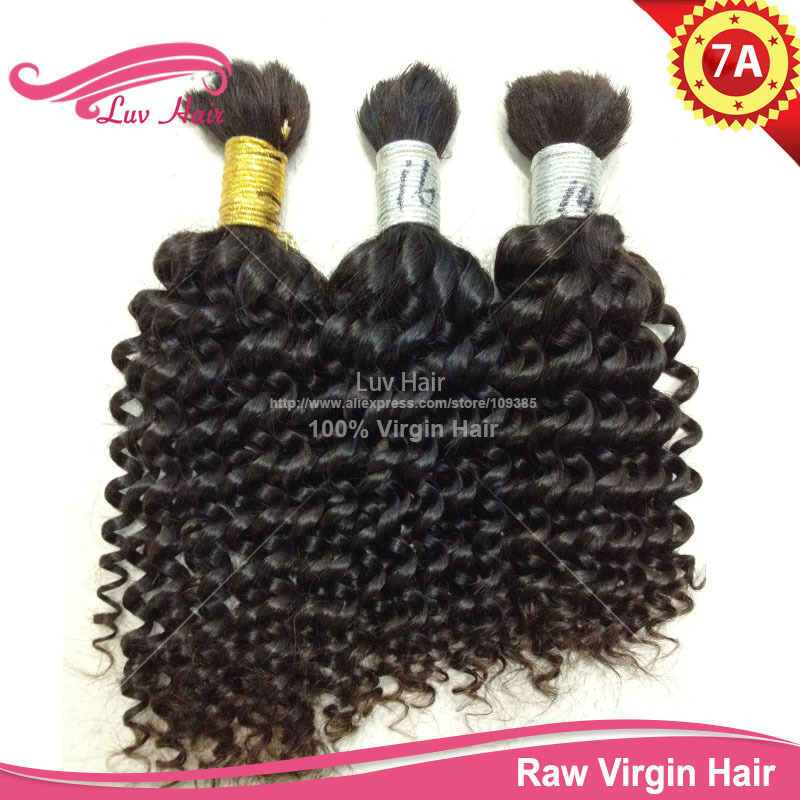 LUV hair products 100% raw Virgin Bulk Hair braiding Curly Brazilian extension human attachment  -  Luv Hair store