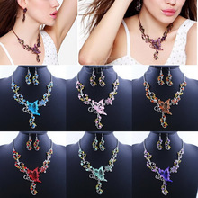"S105"" Free Shipping Hot Sale Wedding Party Crystal Rhinestone Necklace Earrings Butterfly Jewelry Flower Sets(China (Mainland))"