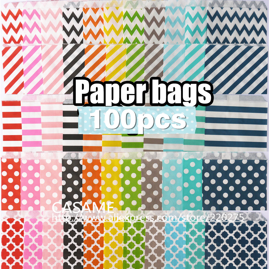Promotion 5x7 Chevron dot stripe horizontal Flower Treat Craft Paper Popcorn Bags Food Safe Party Favor Paper bags Best Gift Bag(China (Mainland))