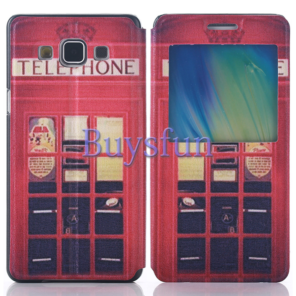 Red Telephone Box View Window Leather Flip Cover Case For Samsung Galaxy A7 103018288(China (Mainland))
