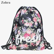 Flower 3D printing Women bolsos romantic man party Gym bags Travel backpack Zohra Trend line brand mochila sport drawstring bag
