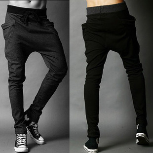 Trousers black skinny pants male casual harem trend sports long trousers - shao qing's store