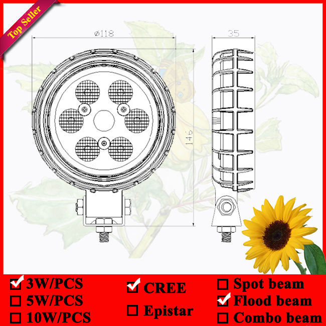 5inch Round CREE Led work lamp for tractor truck IP67 led Flood light(China (Mainland))