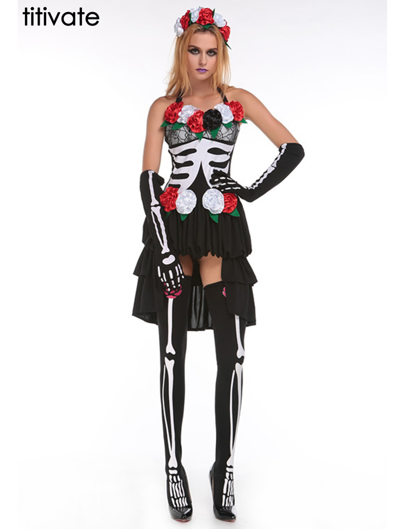TITIVATE Hot Skeleton Day of The Dead Costume Womens Sexy Sugar Skull Dia Flower Fairy Halloween Ghost Vampire Bride Fancy Dress(China (Mainland))