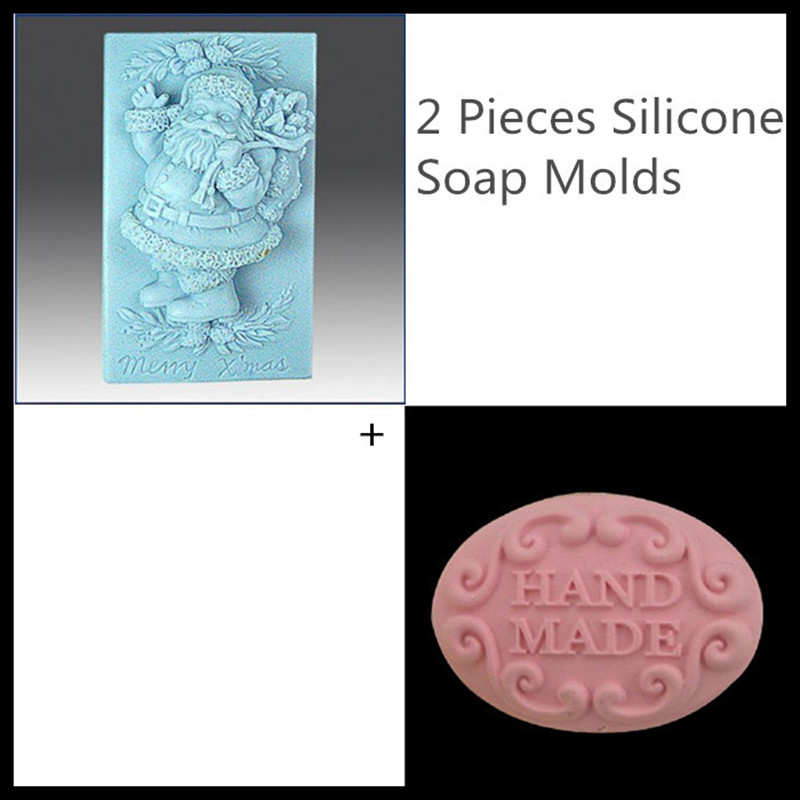 Set of 2,New Christmas Santa Clause molds soap making, Oval silicone molds for soap 3d free shipping(China (Mainland))