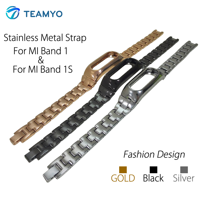 TEAMYO Xiaomi Mi Band 1S Stainless Metal Strap For Original Xiaomi Miband 1S and Mi Band