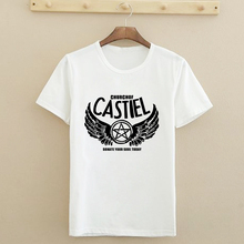 Women Fashion Short Tshirts Domate Your Soul Today Supernatural American Church of CASTIEL T-shirts Slim Fit Cotton T Shirts(China (Mainland))