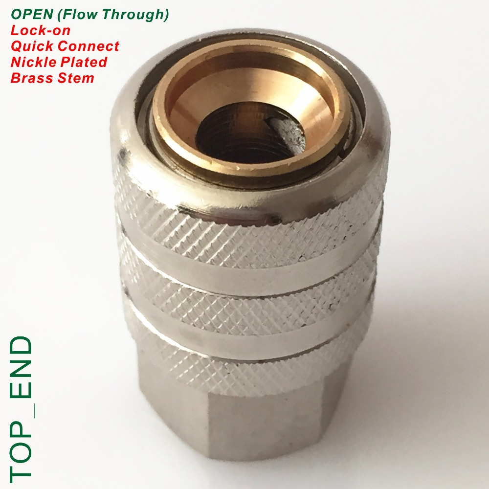 Открытый конец ( поток через ), Никелированной латуни, Воздуха чак, Lock On быстроразъемный, Работа ж / клапана