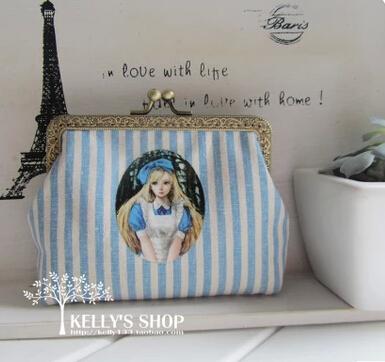 bag with blue stripes handmade DIY materials cats mouth gold bag handle bag purse storage metal frame handbags coin purses(China (Mainland))