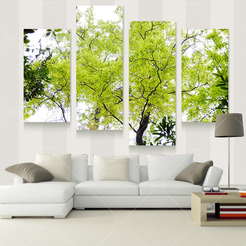4 panel modern tree paintings canvas decoracion pictures