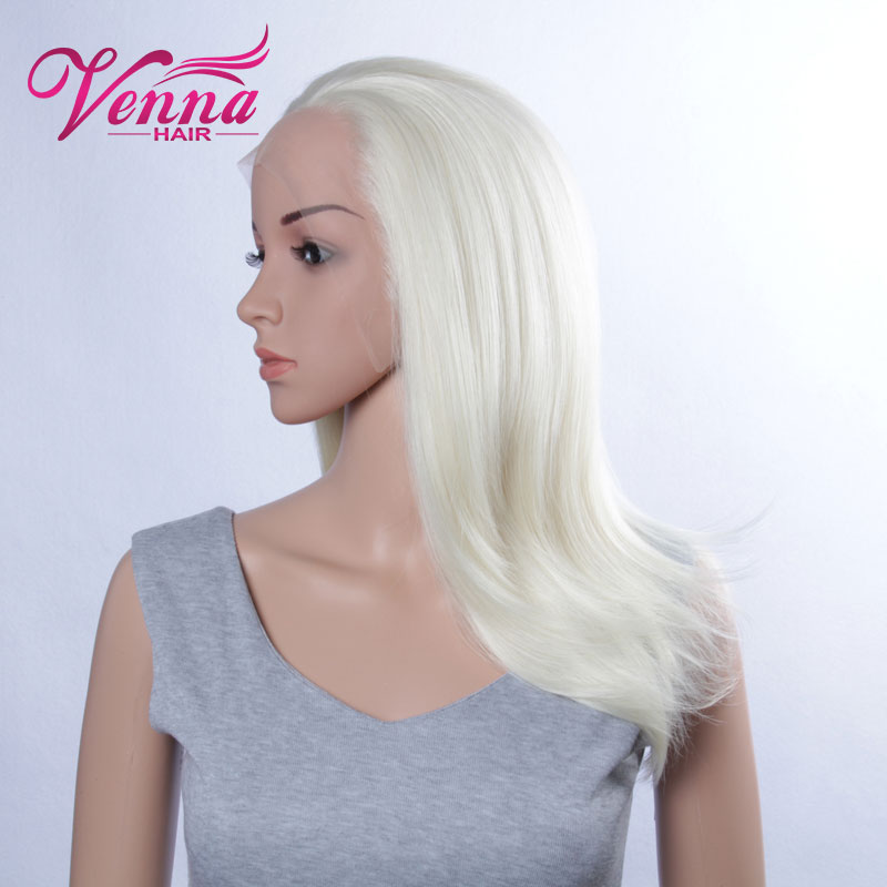 Long Straight Synthetic Wig White Platinum Blonde Lace Front Wig Heat Resistant<br>