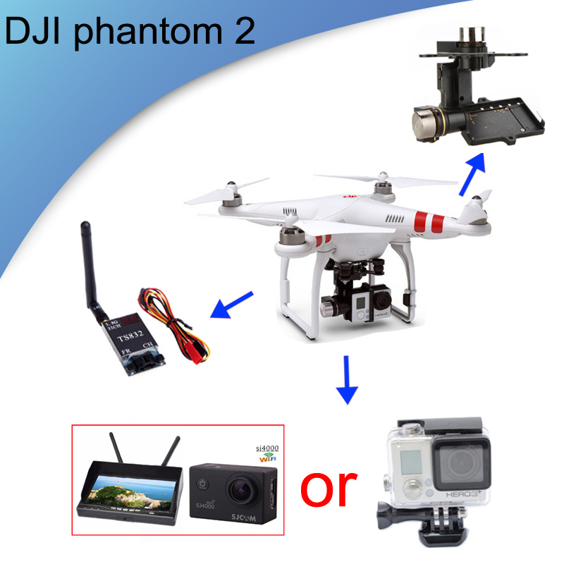 GPS Drone DJI Phantom 2 With HD Camera H3-3D Gimbal RC Drone Flying Toy Ourdoor Fashion Compass Fast shipping