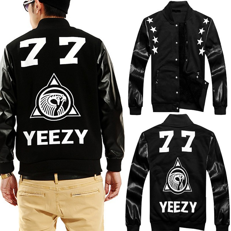 Factory Tops New women men PU Leather Sleeve 3D Hoodies Baseball Jacket Ridding Suede Coat HIP HOP jacket Warm Jaqueta coat