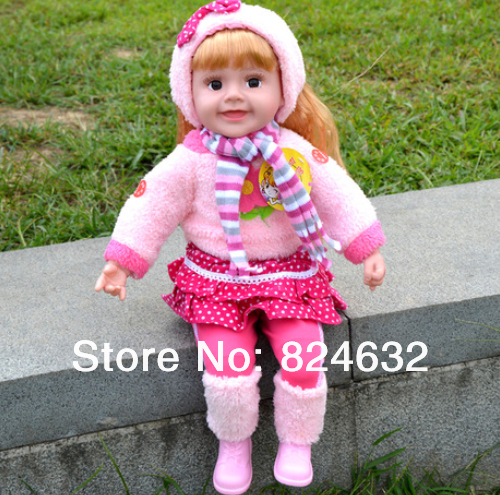 Free shipping Genuine speaking english Talking Doll  music / sound / recording / smart dialogue / touch talk / blinking eye  <br><br>Aliexpress