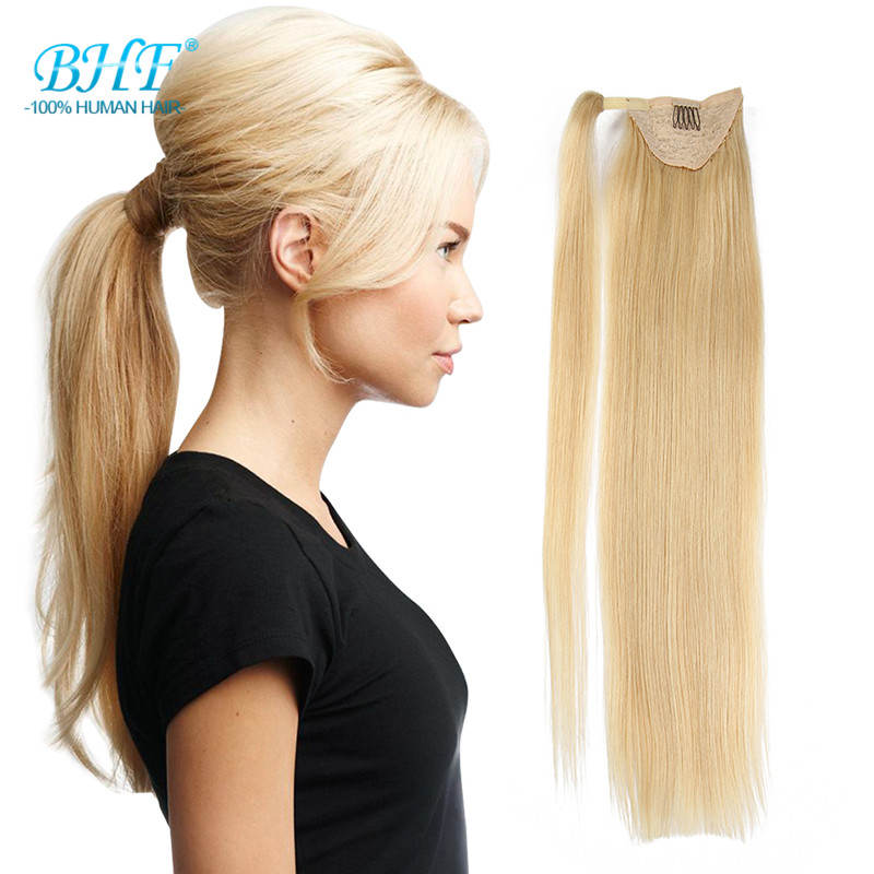 Real Hair Blond Ponytail Human Hair Ponytail Wrap Around Clip Extension Blonde Straight Hair Pony Tail Human Hair(China (Mainland))